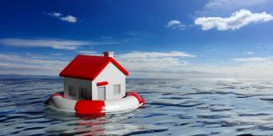 a small house on blue sea background
